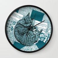 calvin and hobbes Wall Clocks featuring Blue Hobbes by Maritsa Patrinos