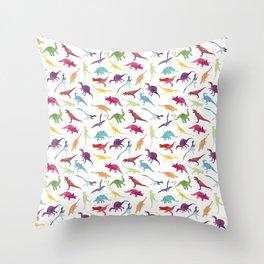 Watercolour Dinosaurs Throw Pillow