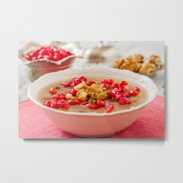 Turkish dessert Ashura, Noah's pudding, with pomegranate seeds and walnuts Metal Print