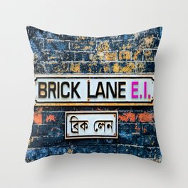 London Brick Lane Sign Throw Pillow