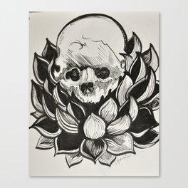 Skull Lotus Mandala Canvas Print