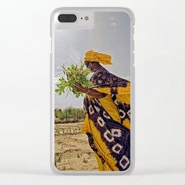 Fatimata in the village garden, Timbuktu Clear iPhone Case