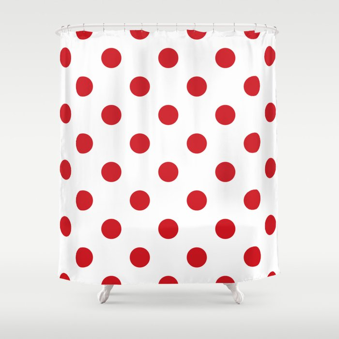 Polka Dots - Fire Engine Red on White Shower Curtain by ...