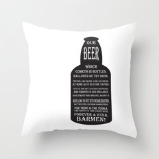 BEER PRAYER version 2.0 Throw Pillow