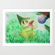 Watercolor/Ink Axew Art Print