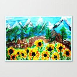 Mountain Sunflowers 1 Canvas Print