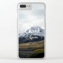 To Live is Christ and to Die is Gain Philippians 1:21 Typography Bible Landscape Art Clear iPhone Case