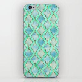 Luxury Aqua Teal Mint and Gold oriental quatrefoil pattern iPhone Skin