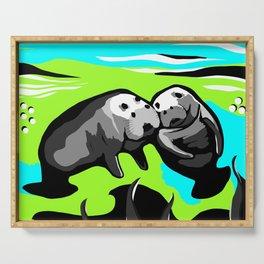 MANATEE LOVE in Blue Green Underwater Serving Tray