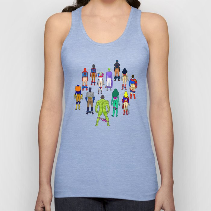 Superhero Butts - Power Couple on Violet Unisex Tank Top