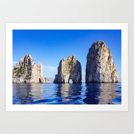 Faraglioni Rocks of the coast of the island of Capri, Italy Art Print