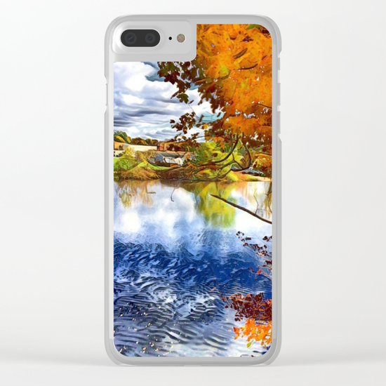 Romantic Fall River Town Nature View Clear iPhone Case