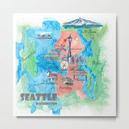 Seattle Washington Travel Poster Favorite Map Metal Print