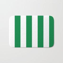 Classic Cabana Stripes in White + Kelly Green Bath Mat