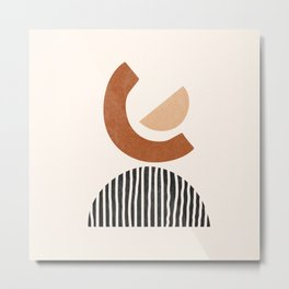 Minimalist Abstract Art, Mid Century Boho, Earth Tones Metal Print