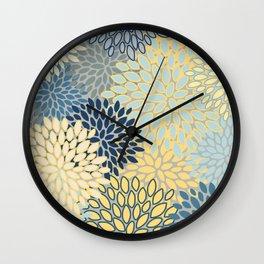 Modern, Abstract, Flower Garden, Blue, Yellow, Gray Wall Clock