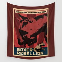 boxer Wall Tapestries featuring Boxer Rebellion  by Galen Valle