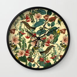 FLORAL AND BIRDS VII Wall Clock