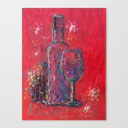 Fun Colorful Modern Wine Art  Fun Colorful Modern Wine Art (wine bottle & glasses) by lena owens Canvas Print