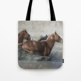 Mustangs Getting Out of a Muddy Waterhole the Fast Way painterly Tote Bag