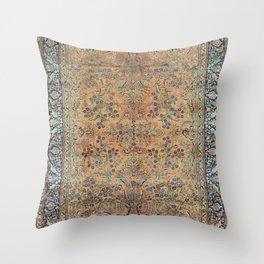 Kashan Floral Persian Carpet Print Throw Pillow
