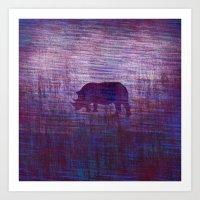 rhino Art Prints featuring Rhino by Inmyfantasia