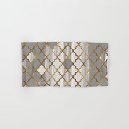 Moroccan Tile Pattern In Grey And Gold Hand & Bath Towel