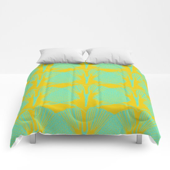 ginkgo pattern in deep yellow and turquoise Comforters