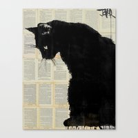 black cat Canvas Prints featuring CAT BLACK by LouiJoverArt