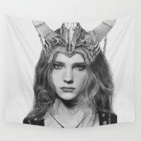 headdress Wall Tapestries featuring Natalia Vodianova Skull Headdress (Pencil Art) by Aeriz85