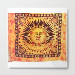 Sun Face Printed Tapestry Metal Print