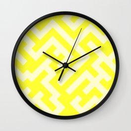Cream Yellow and Electric Yellow Diagonal Labyrinth Wall Clock