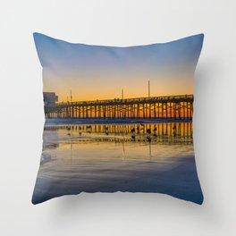 Seagull Sunset at Newport Pier Throw Pillow
