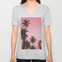 Tropical palm trees on beige pink Unisex V-Neck