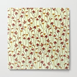 Flowers Pattern on Yellow Metal Print