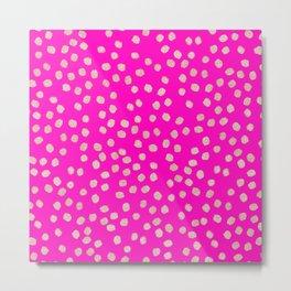 Modern rose gold glitter polka dots neon pink attern Metal Print