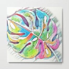 Pastel Rainbow Botanical Metal Print