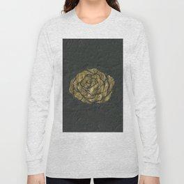 Golden Rose on Textured Canvas Long Sleeve T-shirt