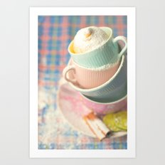 Teacup tower Art Print