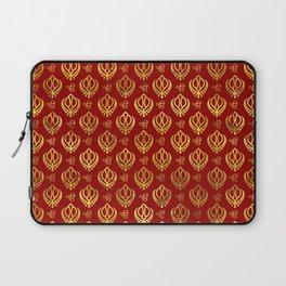 Khanda  and Ek Onkar pattern on red Laptop Sleeve