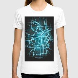 Shreveport, LA, USA, Blue, White, Neon, Glow, City, Map T-shirt