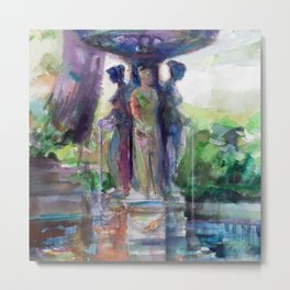 Three Graces Fountain Metal Print