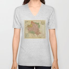 Kingdom of Poland and the Grand Dutchy of Lithuania Map (circa 1770) Unisex V-Neck