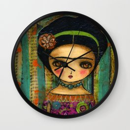 Frida In A Purple And Blue Dress Wall Clock