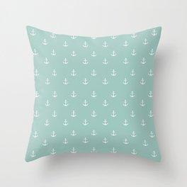 Maine Blue Anchor Print Throw Pillow