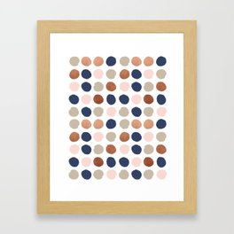 Rose Gold navy copper sparkle modern dots polka dots rosegold trendy pattern cell phone accessories Framed Art Print