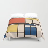 mondrian Duvet Covers featuring Mondrian Who by Perdita