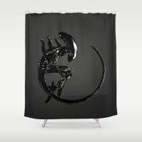 xenomorph Shower Curtains featuring Xenomorph by Philipe Kling