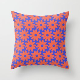 Crayon Flowers 2 Cheerful Smudgy Floral Pattern in Coral and Bright Blue Throw Pillow