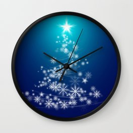Whimsical Glowing Christmas Tree with Snowflakes in Blue Bokeh Wall Clock
